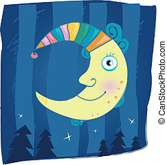 Fantasy moon - Night moon – mystical symbol. Cartoon...