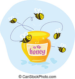Sweet honey - Bees flying around sweet honey Yumeee Vector...