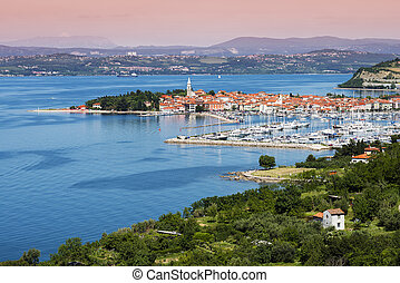 Izola - Beautiful coast town Izola - Slovenia from above