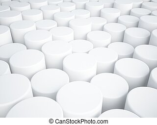 white abstract of cylinder 3d background