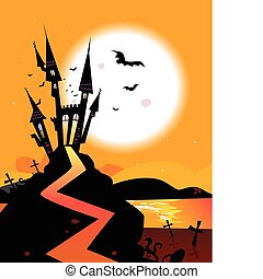 Haunted Castle - Bats over spooky Castle Vector Illustration...