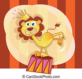 Circus lion - Trained lion acts in circus show Vector...
