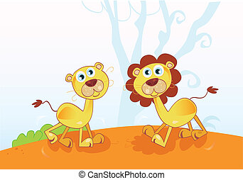 Funny African Lions - Safari animals in nature Vector...