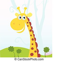 African Giraffe - Vector Illustration of funny animal See...