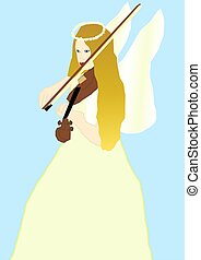 Angel Playing Violin - A beautiful angel playing violin in a...