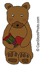 Bear Holding Flowers and Chocolate - Teddy bear holding...