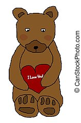 Bear Holding Heart - A brown teddy bear holding a red heart...