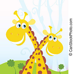 Two giraffes - Funny african animal Vector Illustration