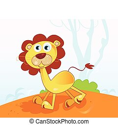 Jungle african lion - Safari animal in african jungle Vector...