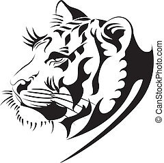 tiger vector2 - Tiger illustration in black lines