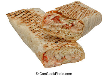 Cut shawarma or tortilla or burritos on white background.