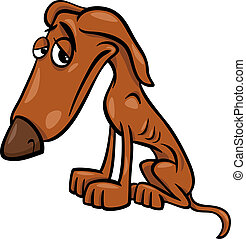 poor hungry dog cartoon illustration - Cartoon Illustration...