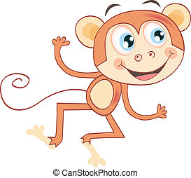 Monkey isolated on white background - Funny jumping animal...