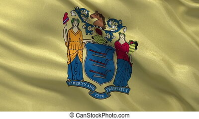 US state flag of New Jersey loop - US state flag of New...