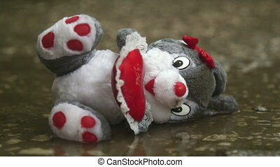 Lost Valentines day gift soft toy in the rain
