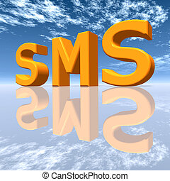 SMS - Computer generated 3D illustration with the letters...