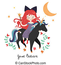 Whimsical girl on black unicorn. Template for card or...