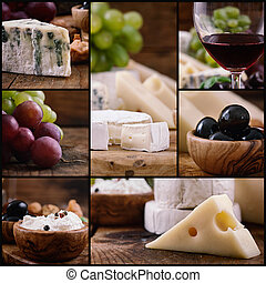 Cheese and wine collage - Restaurant series. Cheese and wine...