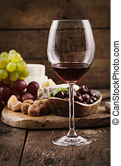 Red wine and cheese - Red wine with Cheese variety.Food...