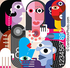 Human Relations. Large group of people - abstract art vector...