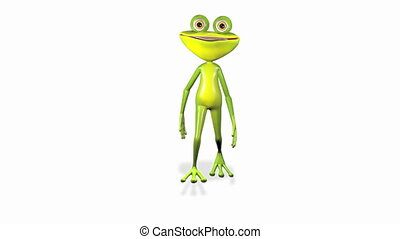 running frog - animation a merry curiosity green running...