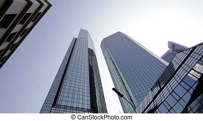 Financial district Frankfurt - Dynamic camera shots of...