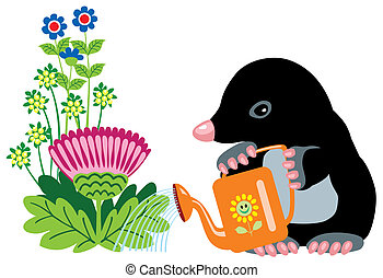 cartoon mole watering flowers, isolated image for little...