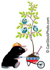 cartoon mole with wheelbarrow, isolated image for little...