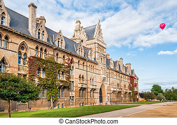 Christ Church Oxford University with red air balloon in the...