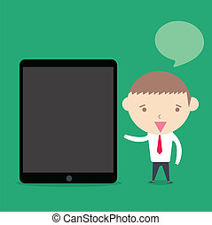 businessman present tablet device on green background