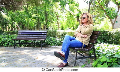 Sad woman - Lonely sad woman thinking in park