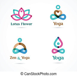 Collection of yoga icons, elements and symbols - Collection...