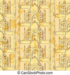 Sketch Taj Mahal, vector seamless pattern - Sketch Taj...