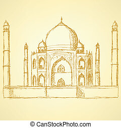 Sketch Taj Mahal, vector vintage background eps 10