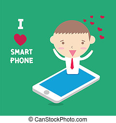 businessman I love smartphone with happy moment