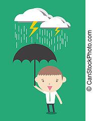 Crisis protection businessman cartoon drawing conceptual