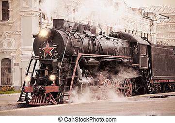 Retro steam train. - Retro steam train stands on the railway...