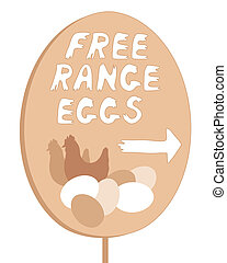 free range sign - an illustration of a home made free range...