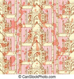 Sketch Taj Mahal, vector seamless pattern - Sketch Taj...
