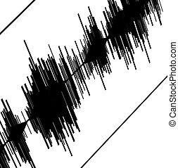 Seismic diagram - Abstract black seismogram on white paper...