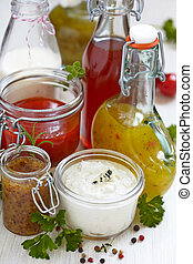 Assortment of salad dressings - Assortment of homemade salad...