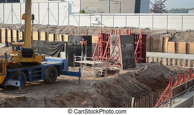 construction site crane - Industrial construction site...