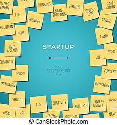 Start Up concept template with post it notes - Start up...