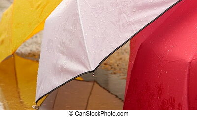Rainy day and wet colorful umbrellas