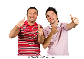 Achievement-Friends holding thumbs-up - Two happy friends or...