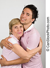 Portrait of mother and son hugging - Portrait of mother and...