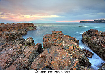 Craggy rocks of North Avoca escarpment - The view east and...