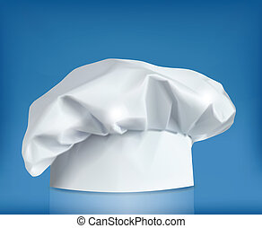 Cooking cap on blue background. Vector