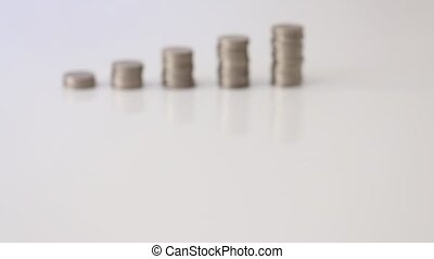 Stacking Coins - Stacking Japanese 100 Yen coins