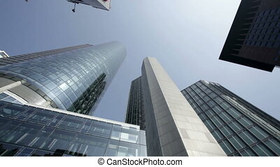 Frankfurt financial district - Dynamic camera shots of...